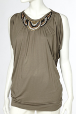 Wallis Khaki Embellished Split Sleeve Top