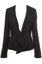 Black Crepe Tie Front Jacket