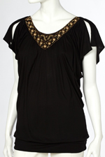 Wallis Black Arrowbead Top